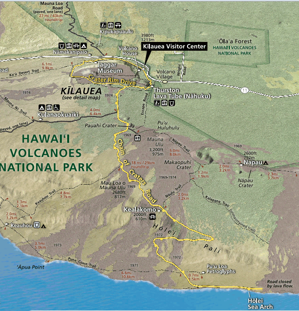 Hawaii Volcanoes National Park Map
