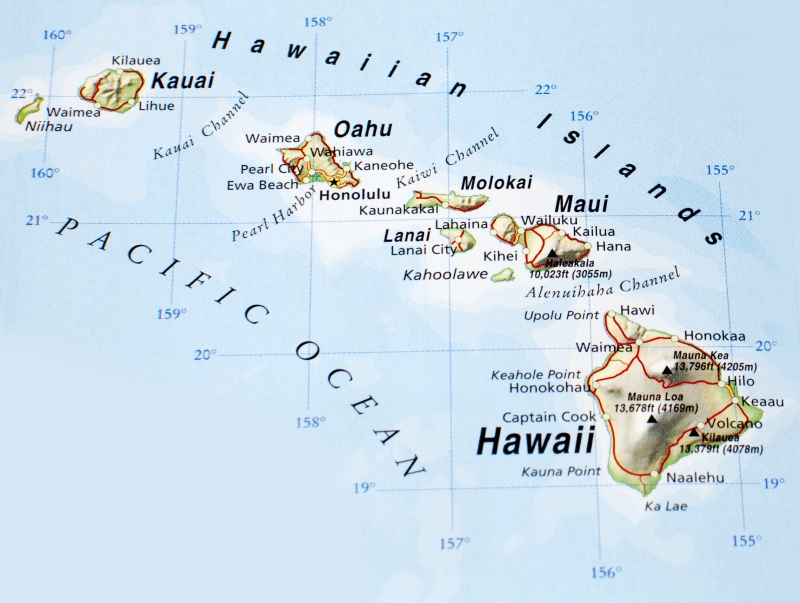 Map of the Hawaian Islands: Kauai, Maui, Oahu, and the big Island