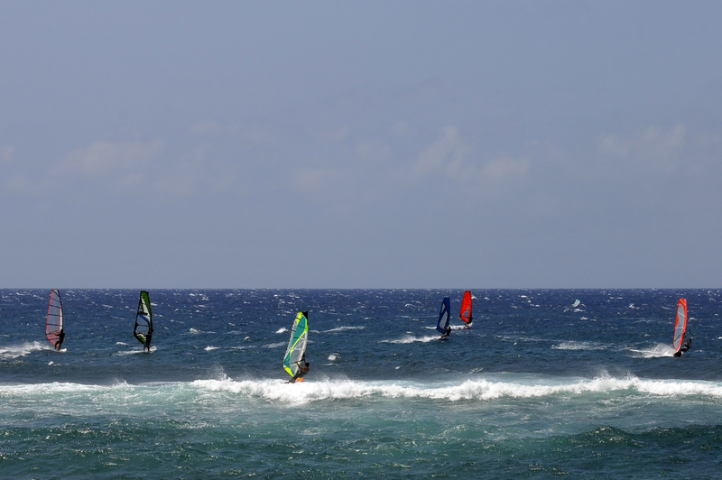 Wind Surfers on HoOkipa Bay on Maui