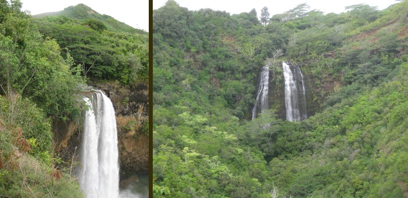 Kauai Waterfalls: Wailua falls and Opaekaa falls