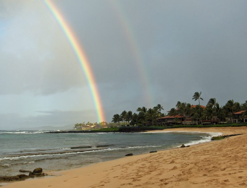Poipu Beach Rainbow Kauai, Hawaii