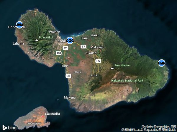 Map of the Three Maui Airports: Kahului (OGG), Kapalua (JHM), and Hana (HNM with Maui airport codes