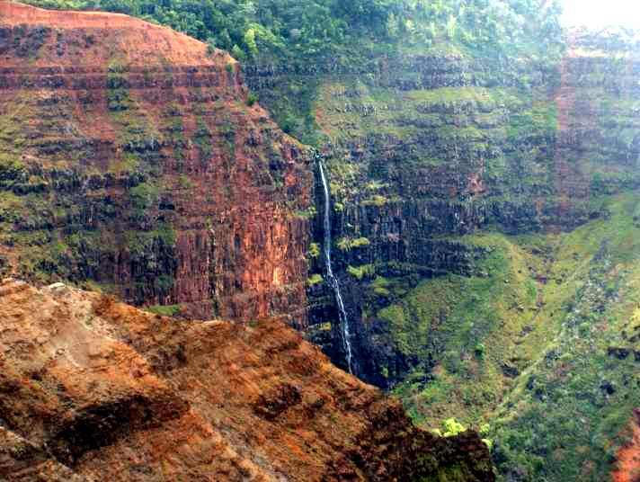 Waipo'o Falls in Waimea Canyon on the Hawaiian Island of Kauai