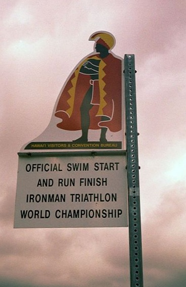 sign at the start of the Ironman Triathlon World Championship