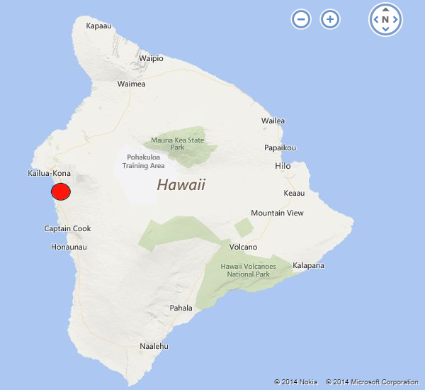 Kailua-Kona mapped on the Big Island of Hawaii
