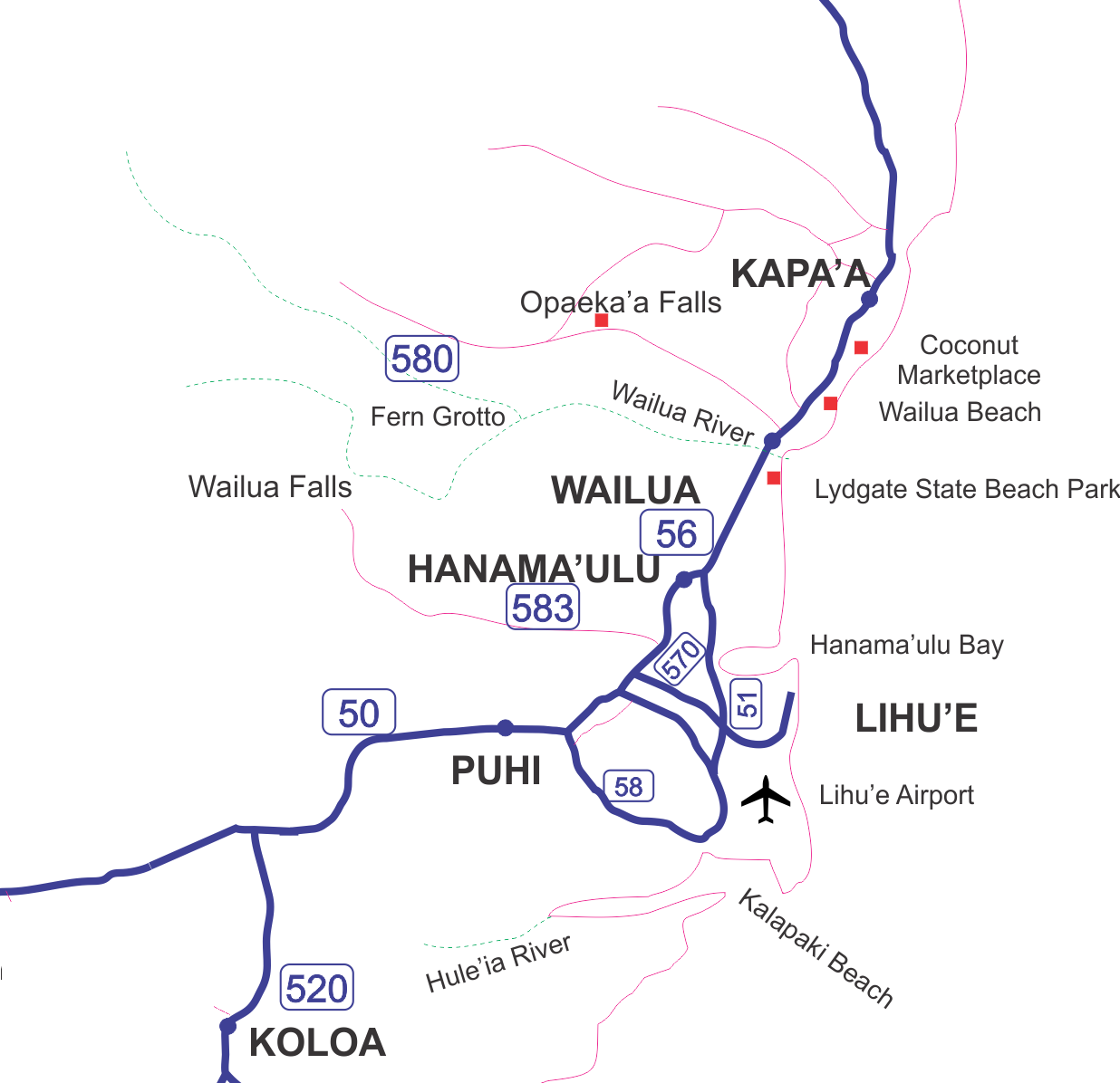 Map of Kauai's East shore