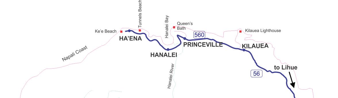 North Shore of Kauai Map