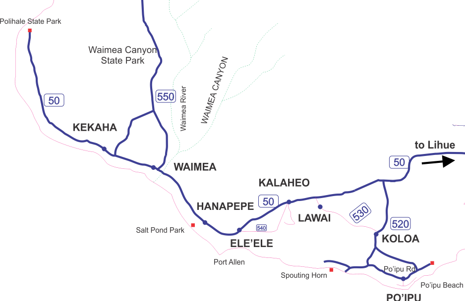 Kauai South Shore Map