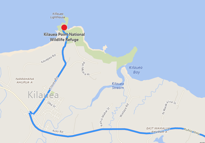 map to Kilauea Lighthouse Point and National Wildlife Refuge