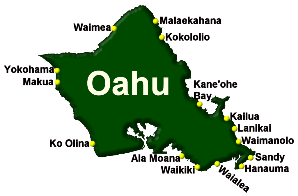 15 different beaches on the island of Oahu, Hawaii